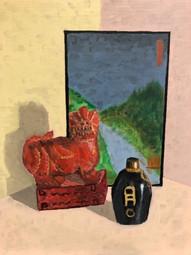 Sam Oriental Dragon Oil on board Briarcliff High SchoolRoxanne Ritacco 11 x 14 inches