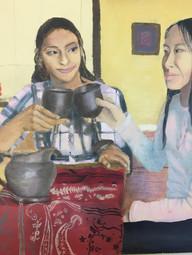Vishwa Shukla Dinner Party Oil on board Briarcliff High School Roxanne Ritacco 16 x 20 inches