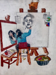 Nayanika Clark Triple Self-Portrait Oil pastel on canvasBronxville High SchoolCourtney Alan 16 x 20 inches
