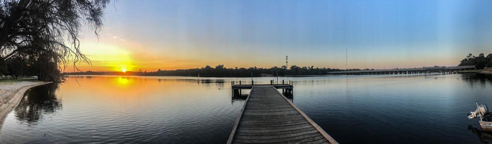 Flat sunrise water