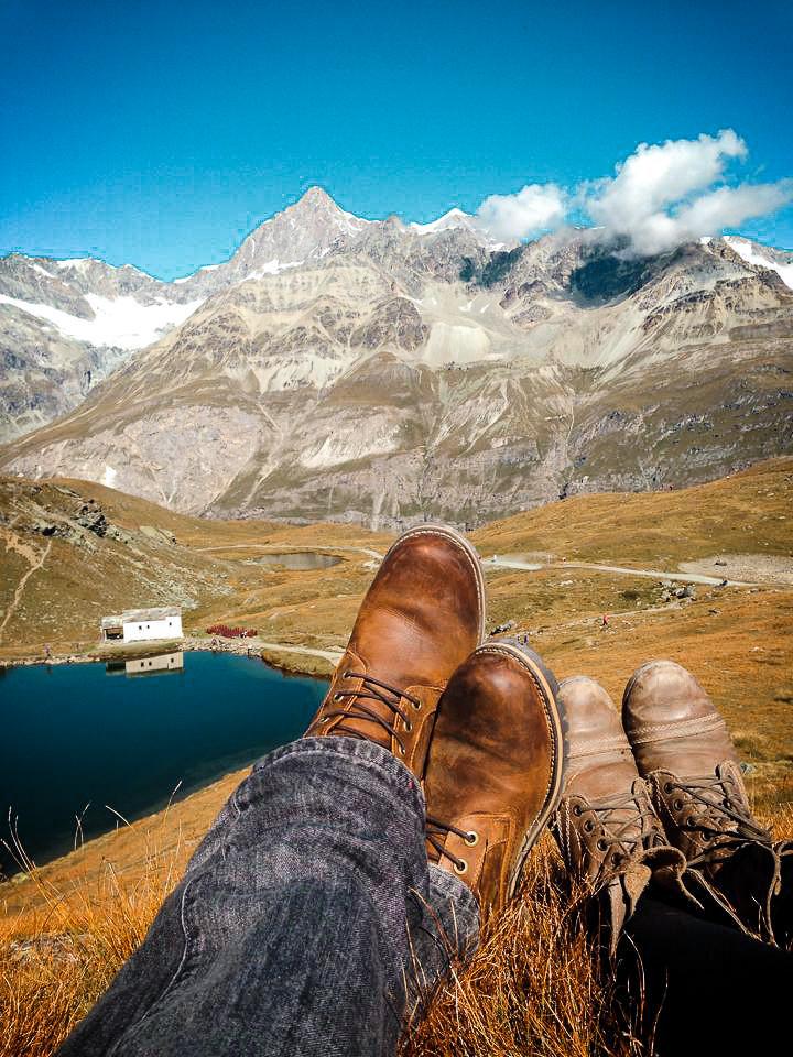 boots in the swiss alps, mountains in Zermatt switzerland