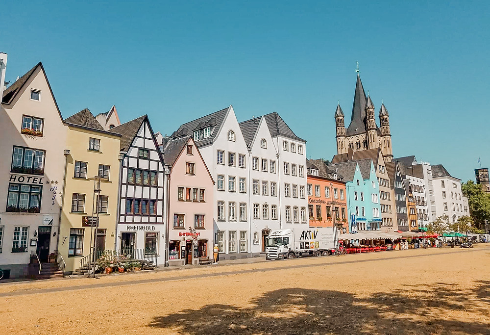 Old Town Cologne, Germany with colorful homes