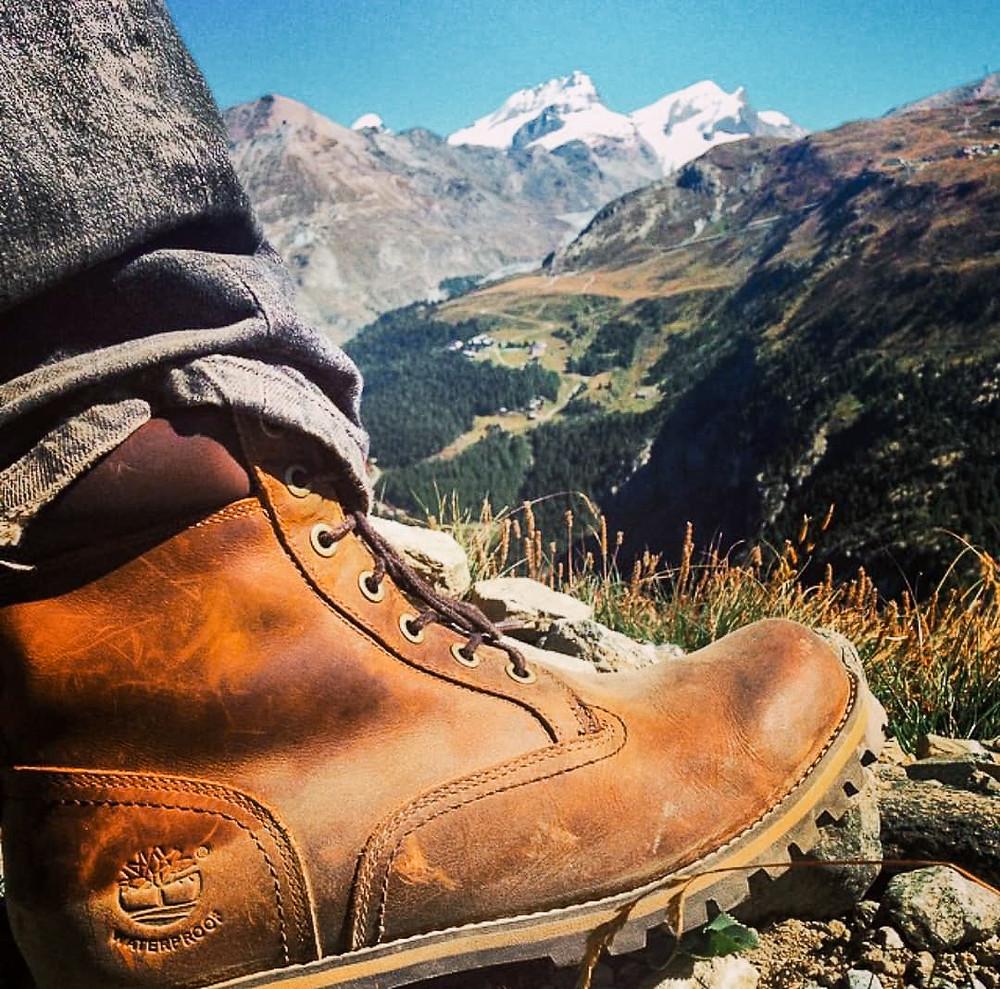 Timberland boots in the Swiss Alps, Zermatt Switzerland