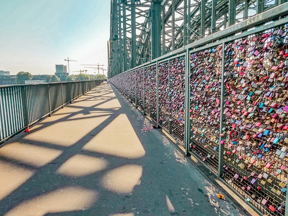 A bunch of locks representing love on Bridge in Cologne, Germany