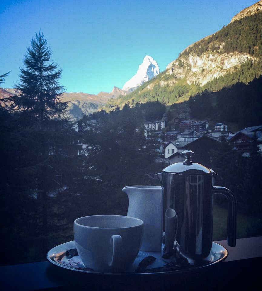 View of Matterhorn from Hotel Mirabeau, Zermatt Switzerland