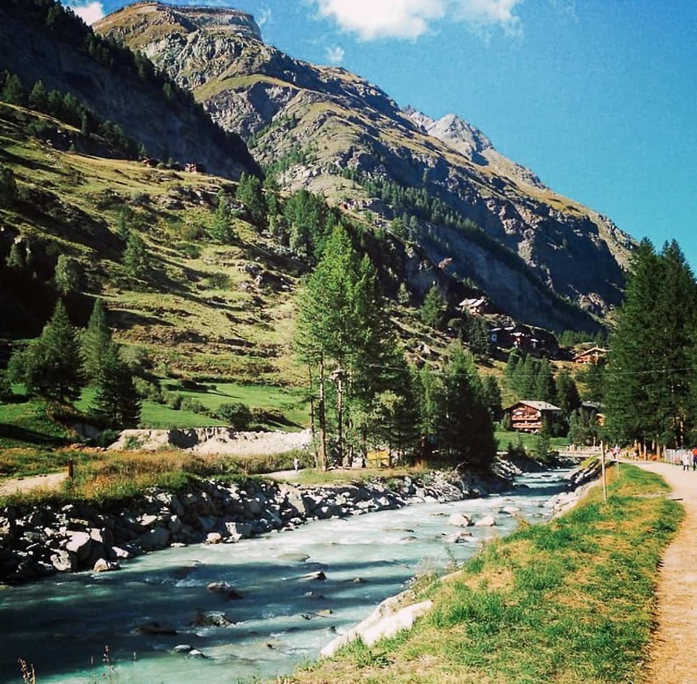 Zermatt River and Mountains in Switzerland