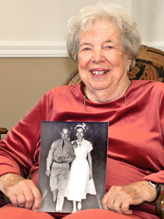 Resident portrait with wedding photo