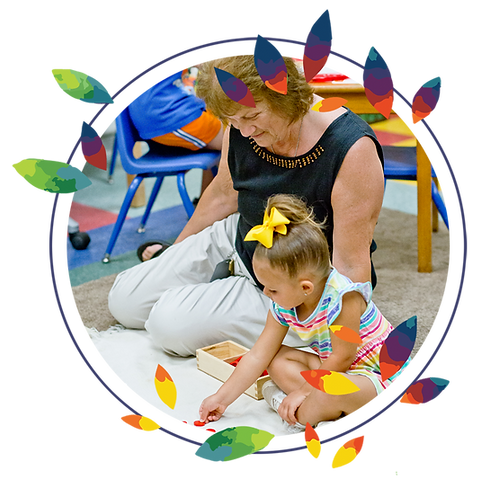Child and teacher at Montessori Learning Center
