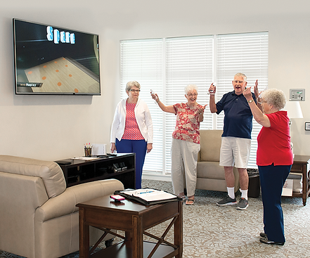 Wii Bowling is a popular activity at Bob Hope Village