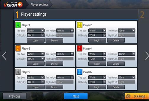 Golfzon player configuration