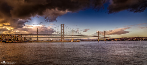Forth Road Bridge and Queensferry Crossing.
