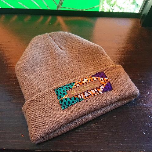 tag knit cap / brown