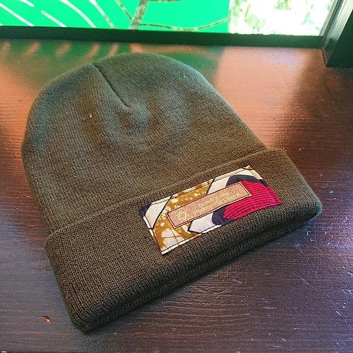 tag knit cap / dark green