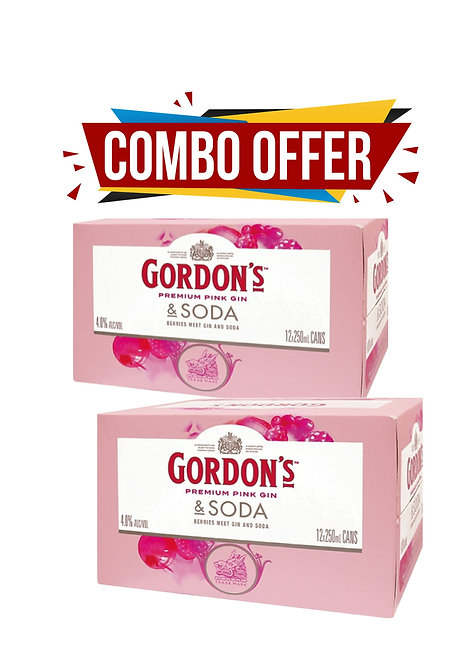 Gordons Pink 4% 12x250ml Can 2 for $50