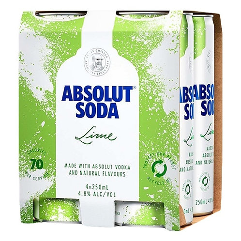 Absolut Lime &Soda 4X250ml