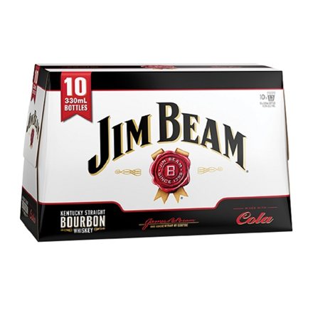Jim Beam Cola 4.8% 330ml BTLS 10 PACK