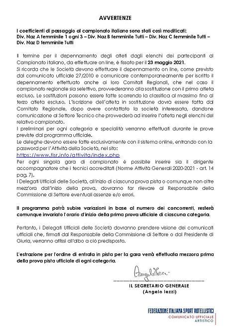 CU 054 - 2021 Campionato Italiano Obblig