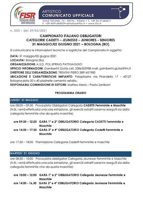 CU 053 - 2021 Campionato Italiano Obblig