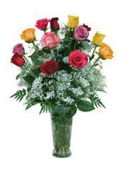Mixed Color Dozen Rose Vase