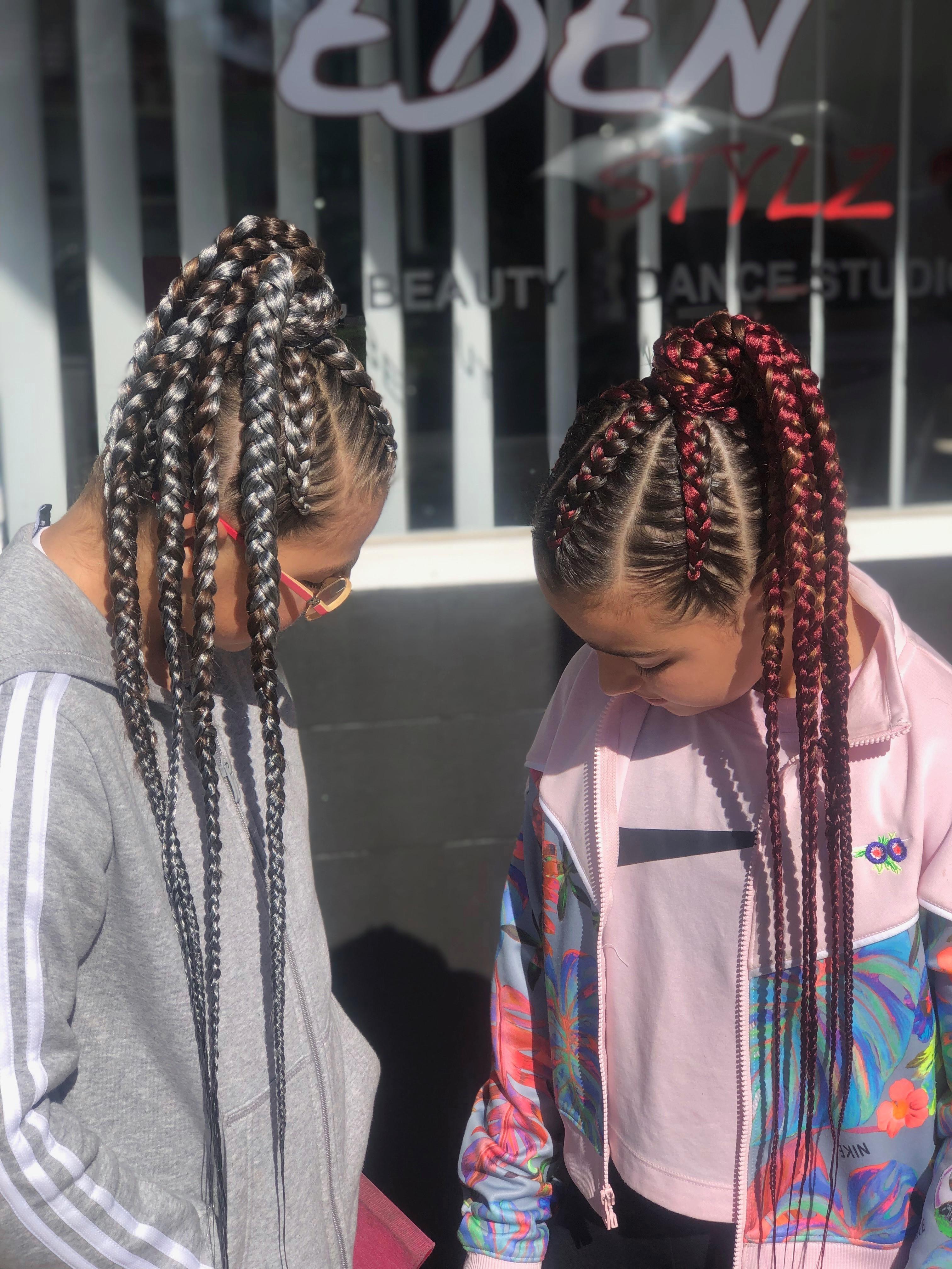 Kids braids into ponytail w/e (6 rows)