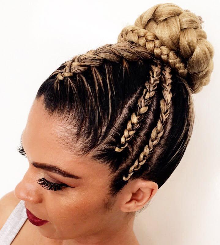 Half head braids into bun w/e