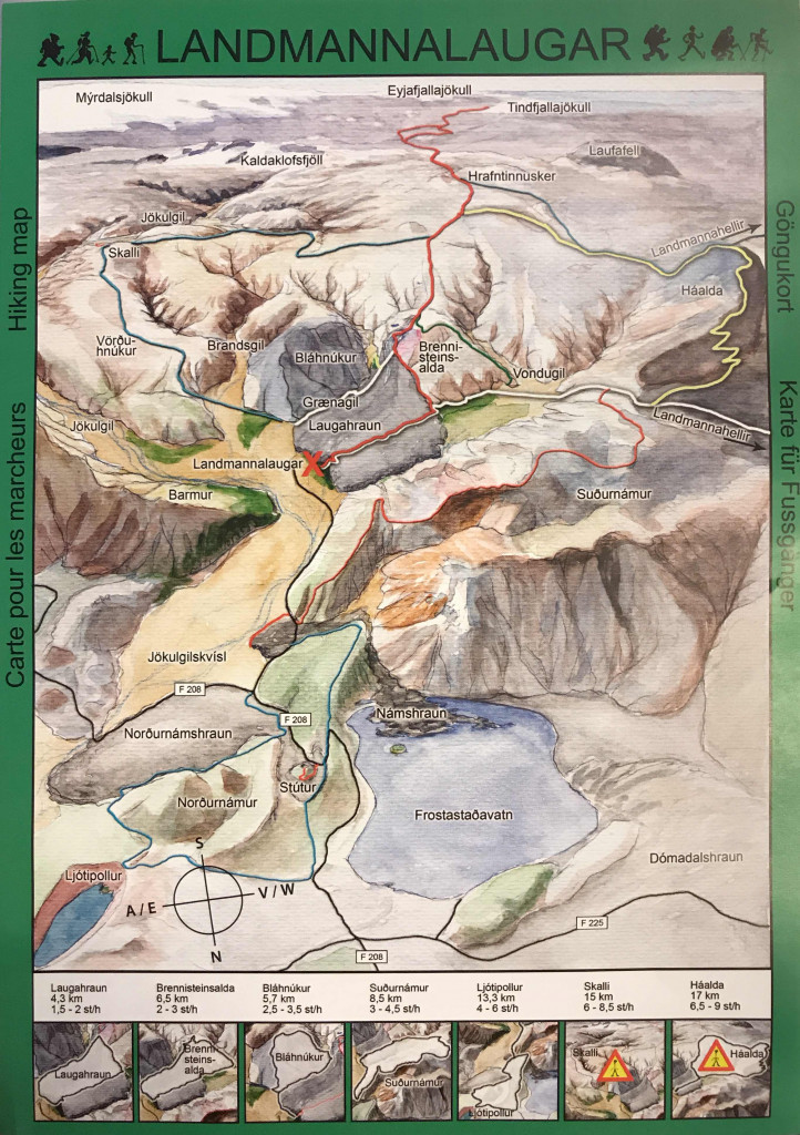 A hiking map with trails that you can use while camping in Landmannalaugar