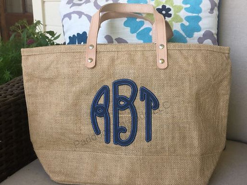 Natural Jute Monogrammed Tote Bag