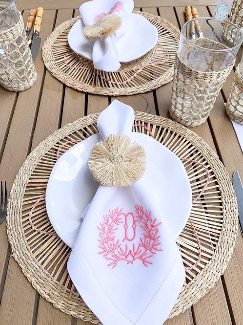 Coral Wreath Monogram Dinner Napkins