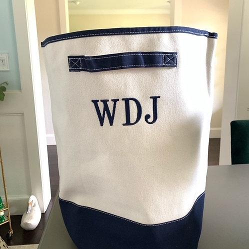 Monogrammed Canvas Laundry Hamper