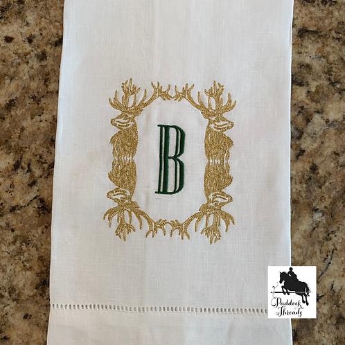 Stag Frame Monogrammed Towel