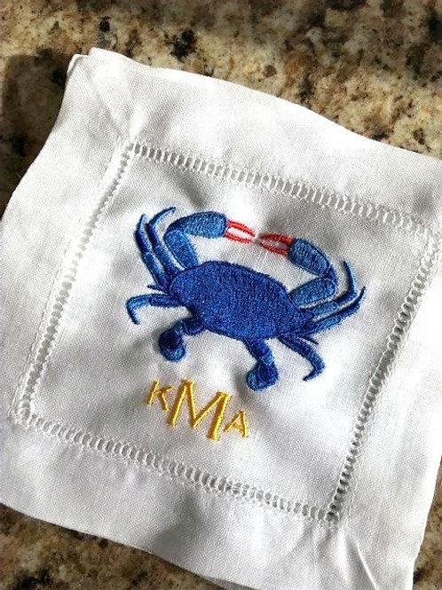Blue Crab Monogammed Cocktail Napkins
