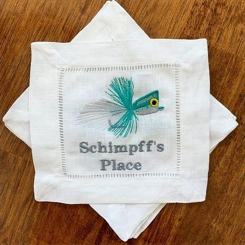 Personalized Fly Fishing Cocktail Napkins