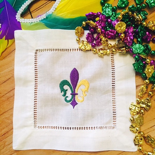 Mardi Gras Fleur de Lis Embroidered Cocktail Napkin Set
