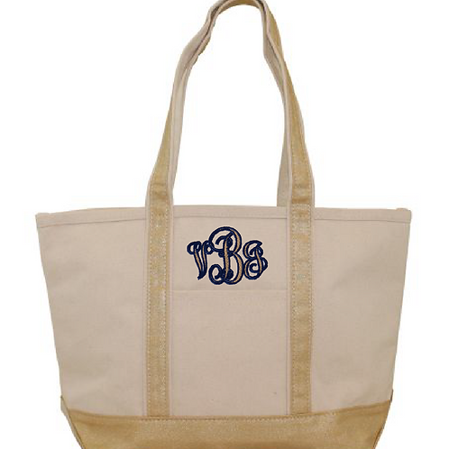 Gold Metallic & Natural Canvas Boat Tote