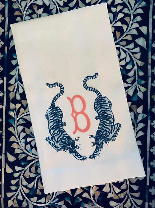 Twin Tiger Monogrammed Guest Towel