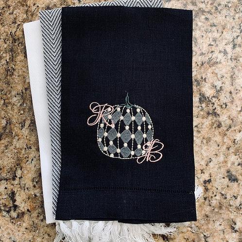 Harlequin Pumpkin Linen Towel