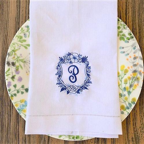 Floral Crest Monogram Towel