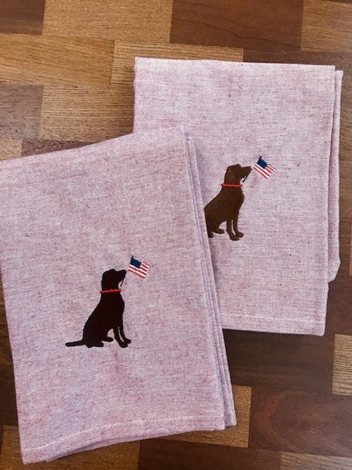 Chambray Holiday Labrador Kitchen Towel