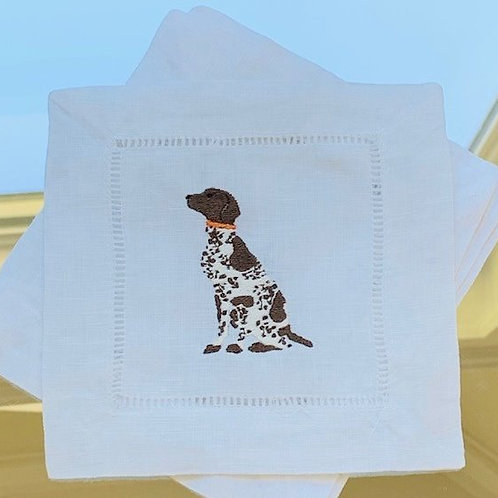 German Short-haired Pointer Embroidered Cocktail Napkins