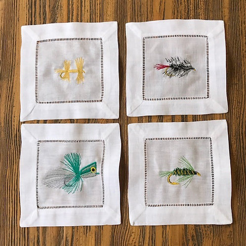 Fly Fishing Lure Cocktail Napkins