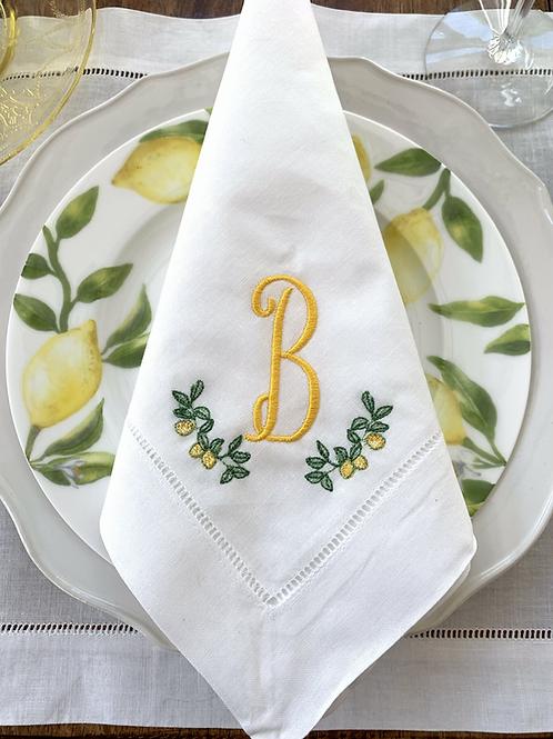 Lemon Swag Monogrammed Dinner Napkins