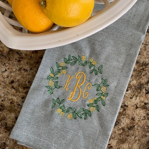 Lemon Wreath Monogram Chambray Kitchen Towel