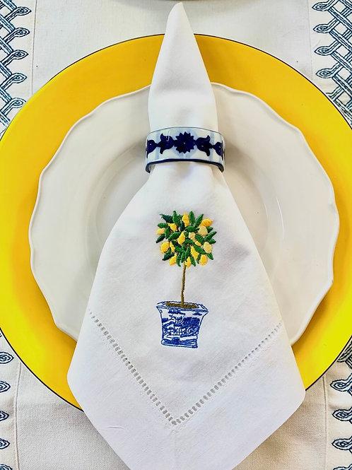 Lemon Topiary Embroidered Dinner Napkins