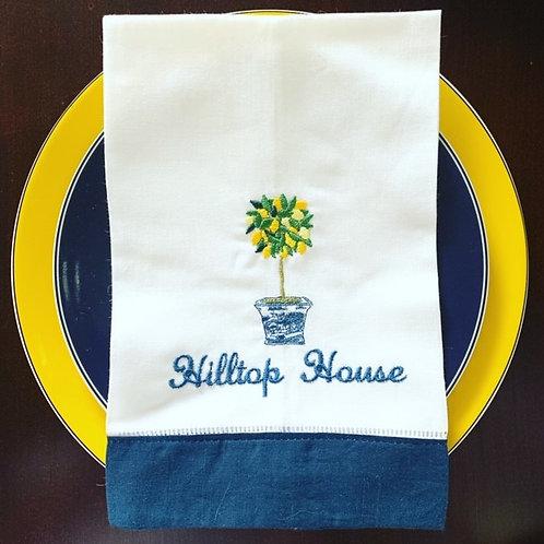 Lemon Topiary Embroidered Towel