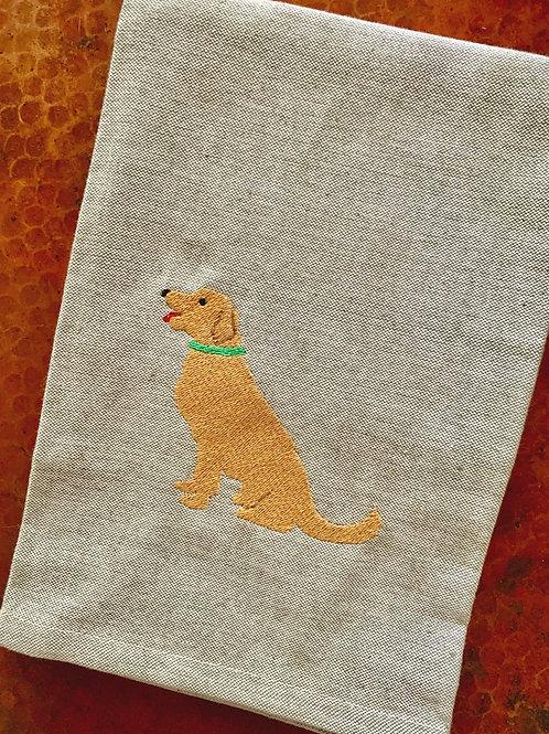Golden Retriever Chambray Kitchen Towel