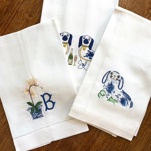 Chinoiserie Rabbit Guest Towel