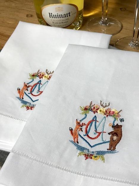 Embroidered Wedding Crest on Linen Dinner Napkins