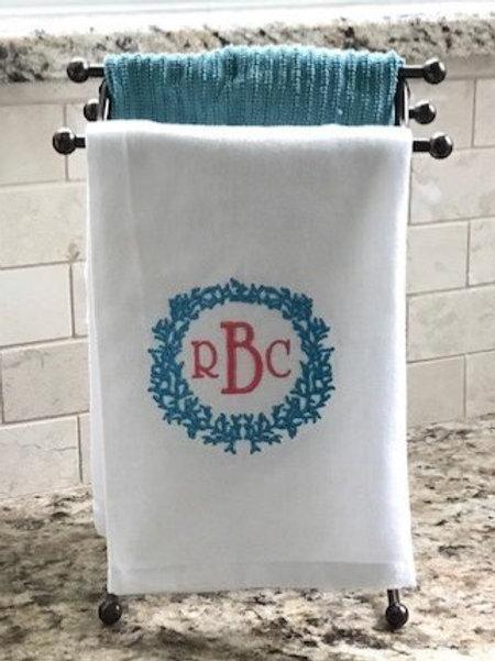 Coral Monogram Towel