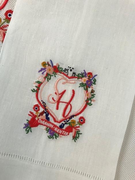Shannon Kirsten Wedding Crest Embroidered Dinner Napkins