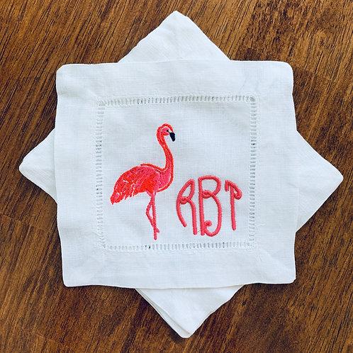 Flamingo Monogrammed Cocktail Napkins